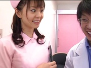Hot nurse Ai Takeuchi blows the doctor and then fucks hard
