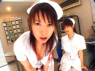 Japanese AV Models in nurse uniforms in wild foursome