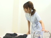Cute Japanese nurse plays with cock and enjoys every inch of it