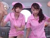 Sweet nurses Claire Hasumi and Anri Okita ride dick on pov video picture 12