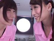 Sweet nurses Claire Hasumi and Anri Okita ride dick on pov video