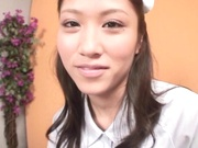 Beautiful Asian nurse throats a big dick in POV