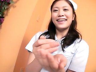 Japan nurse gets jizz on mouth after POV show