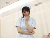 Crazy Japanese nurse in white stockings sits on a face gives a blow picture 12