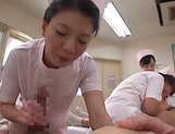 Alluring Asian nurses give delightful handjob picture 14