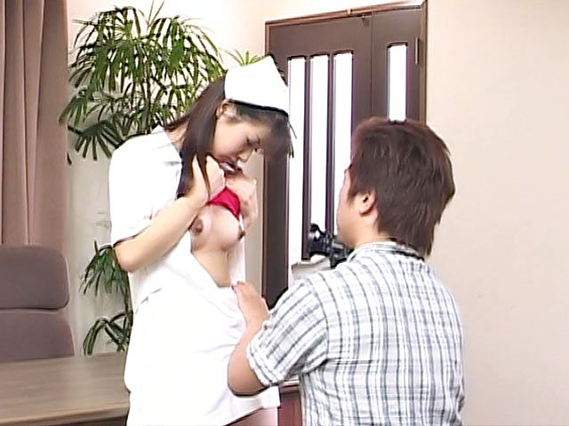 Delicious Asian nurse Akane Oozora strips and gets rear fuck