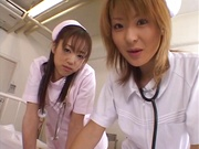 Sleazy nurses undress and fuck a lucky patient