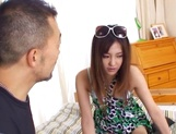 Maki Hoshino receives a big dick in her hairy twat