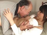 Tamaki Mai endures senior cock in her wet fanny