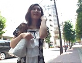 Mature Japanese AV model hard fucked by two younger lads