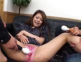 Voluptuous Japanese AV model enjoys cum on her furry twat picture 14