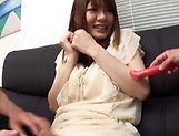 Creampie to end Japanese AV model's naughty threesome show picture 10