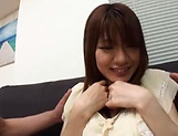 Creampie to end Japanese AV model's naughty threesome show picture 12
