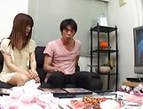 Creampie to end Japanese AV model's naughty threesome show picture 3