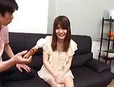 Creampie to end Japanese AV model's naughty threesome show picture 8
