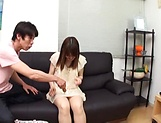 Creampie to end Japanese AV model's naughty threesome show picture 9