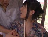 Kimono clad Asian teen Ai Uehara gives a hot blowjob picture 11