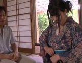 Kimono clad Asian teen Ai Uehara gives a hot blowjob picture 12