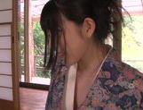 Kimono clad Asian teen Ai Uehara gives a hot blowjob picture 14