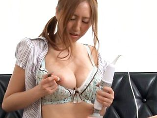 Busty Japanese milf masturbates with vibrator and gets drilled