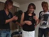 Hot Japanese AV model gets threesome in the store