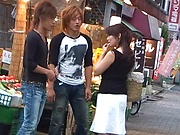 Hot Japanese AV model gets threesome in the store