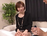 Sexy Japanese AV model gets seduced in fucking on cam picture 13