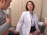 Horny nurse devours on a huge tasty cock