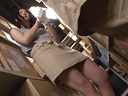 Cute Japanese beauty gets banged at work