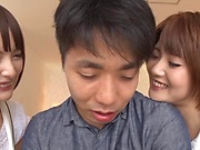 Guy fucks two Japanese divas and makes them swallow dick
