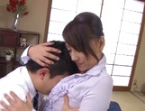 Sexy ikumi gets a tit fuck and creampie picture 12