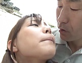 Naughty Asian teen, Rui Hasegawa enjoys sex on the beach with older guy