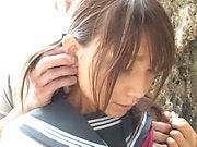 Schoolgirl Rui Hasegawa enjoys sex with the teacher in outdoor
