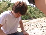 Nice JP babe in short skirt, Mao Kurata gets banged on the beach