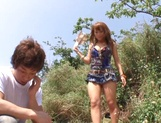 Nice JP babe in short skirt, Mao Kurata gets banged on the beach picture 13