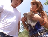 Nice JP babe in short skirt, Mao Kurata gets banged on the beach picture 14