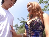 Nice JP babe in short skirt, Mao Kurata gets banged on the beach picture 15
