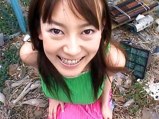 Naughty Asian milf Minami Hoshikawa tit fucked outdoors