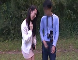 Japanese AV model gets banged outdoors by horny photographer picture 13