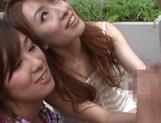 Two stunning MILFs Anje Hoshi, and Nana Satake have a hot threesome outdoors