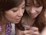 Two stunning MILFs Anje Hoshi, and Nana Satake have a hot threesome outdoors picture 12