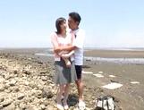 Stunning Asian babe Ki Hanyuu sucks and fucks on the beach picture 12