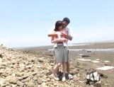 Stunning Asian babe Ki Hanyuu sucks and fucks on the beach picture 14
