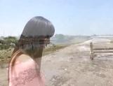 Stunning Asian babe Ki Hanyuu sucks and fucks on the beach