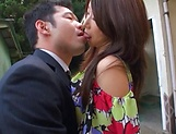 Ayumi Shinoda on her knees giving a spicy head picture 11