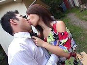 Ayumi Shinoda on her knees giving a spicy head