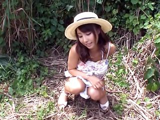 Shunka Ayami Asian babe enjoys giving outdoor tit fuck