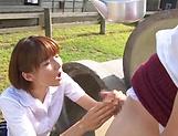 Hotaka Yuka giving a proper head outdoors