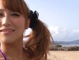 Bikini babe Mao Kurata gets hardcore creampie at outdoor slamming