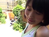 Busty Haruki Karen gets kinky in an outdoor action picture 11